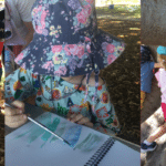 a collage of young children in nature setting